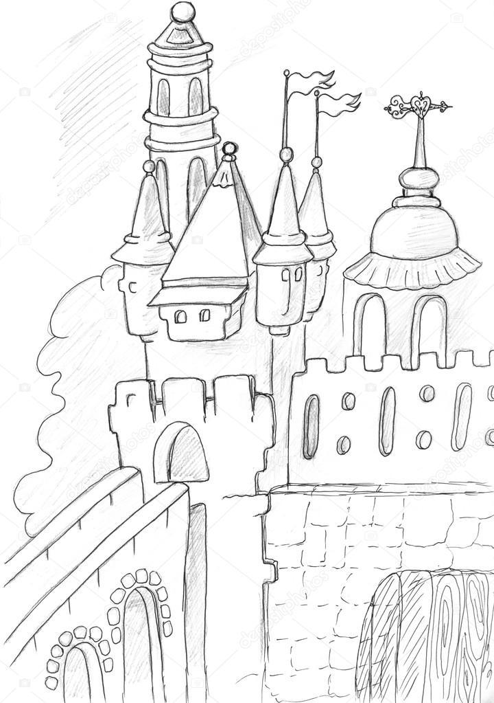 720x1023 Castle Drawing Stock Photo Nadyaus