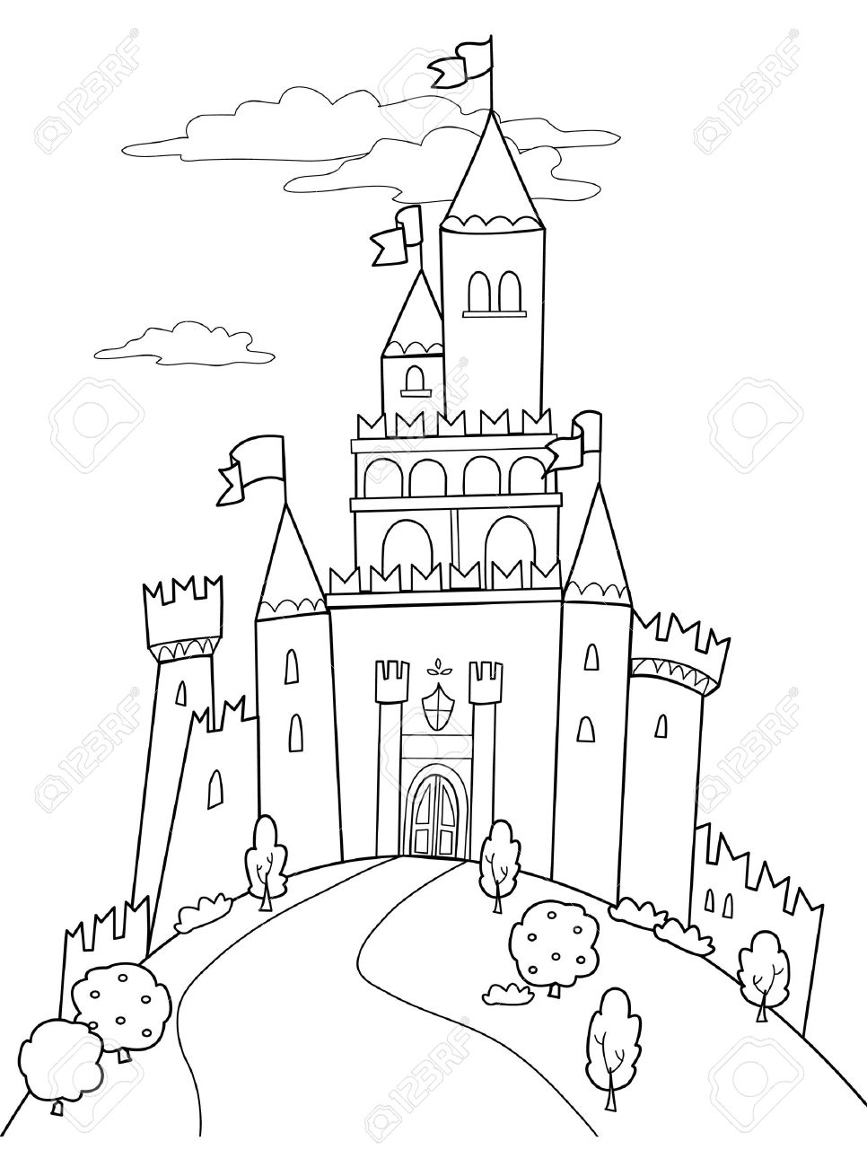 966x1300 Fairy Tale Illustration Black And White Medieval Castle. Royalty