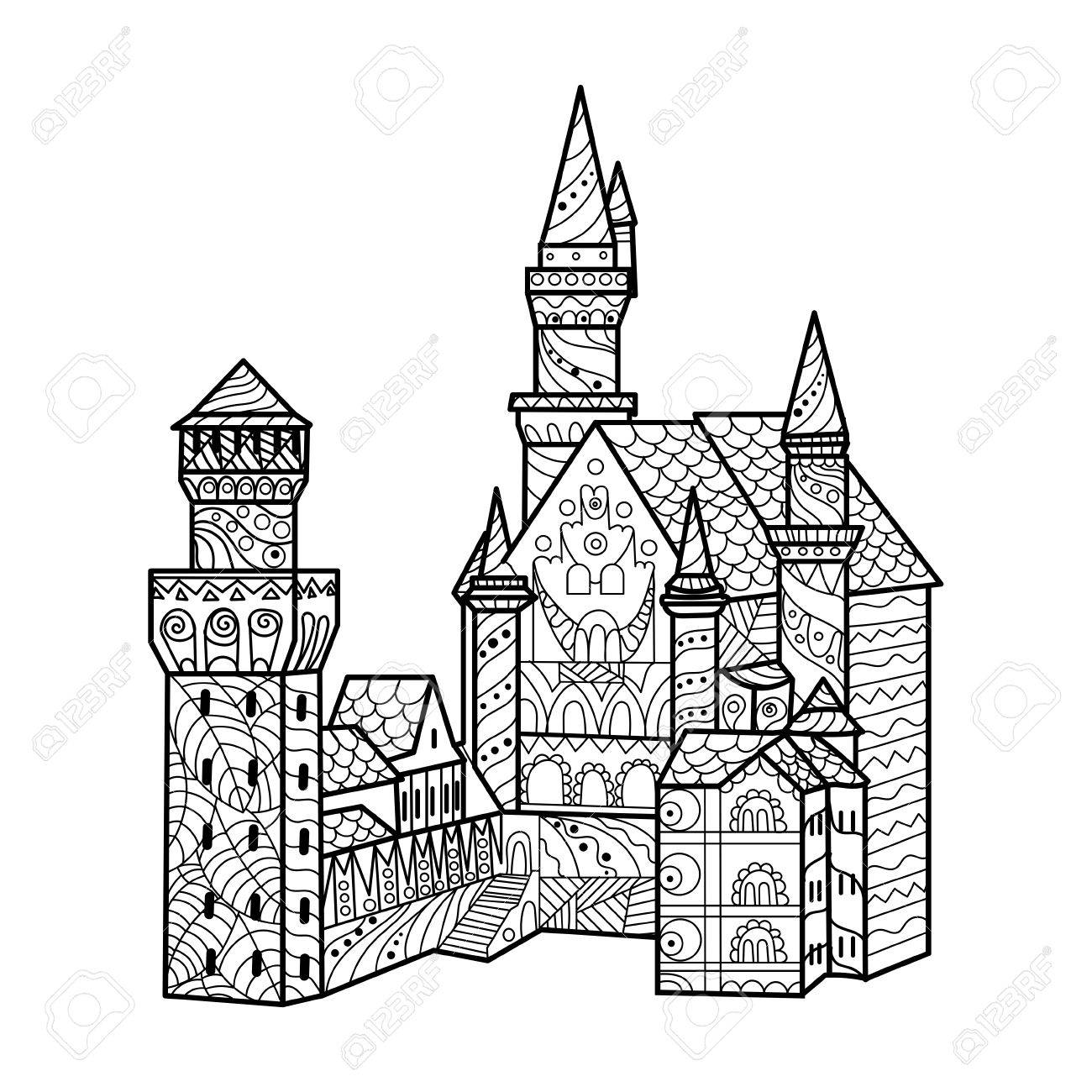 1300x1300 Medieval Castle Coloring Book For Adults Vector Illustration