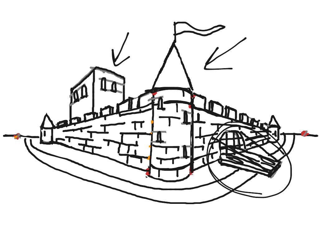 1024x768 Medieval Castle Two Point Perspective Art, Drawing, History