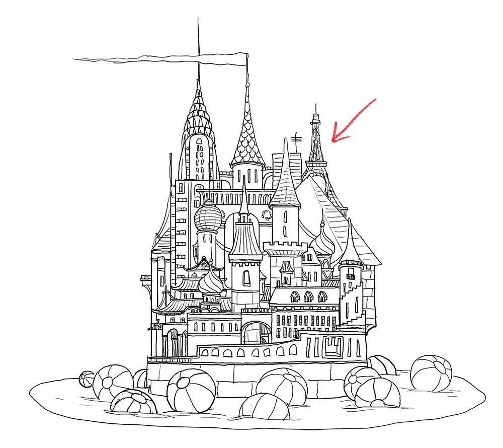 1000x890 Drawn Castle Felt