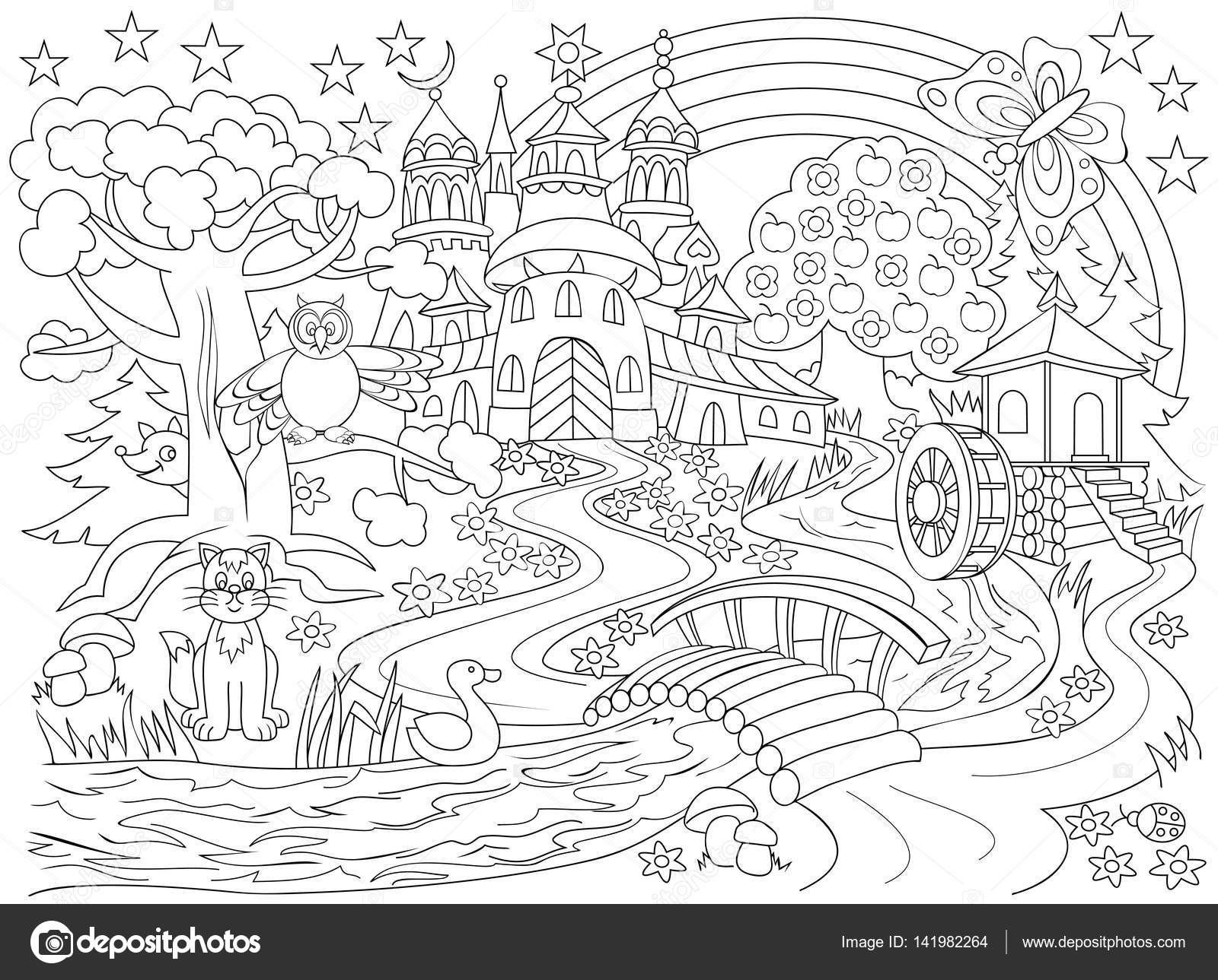 1600x1289 Black And White Drawing Fairyland Country. Illustration
