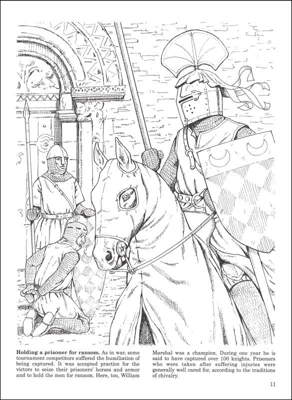 585x800 Medieval Jousts And Tournaments Coloring Book (000447) Details