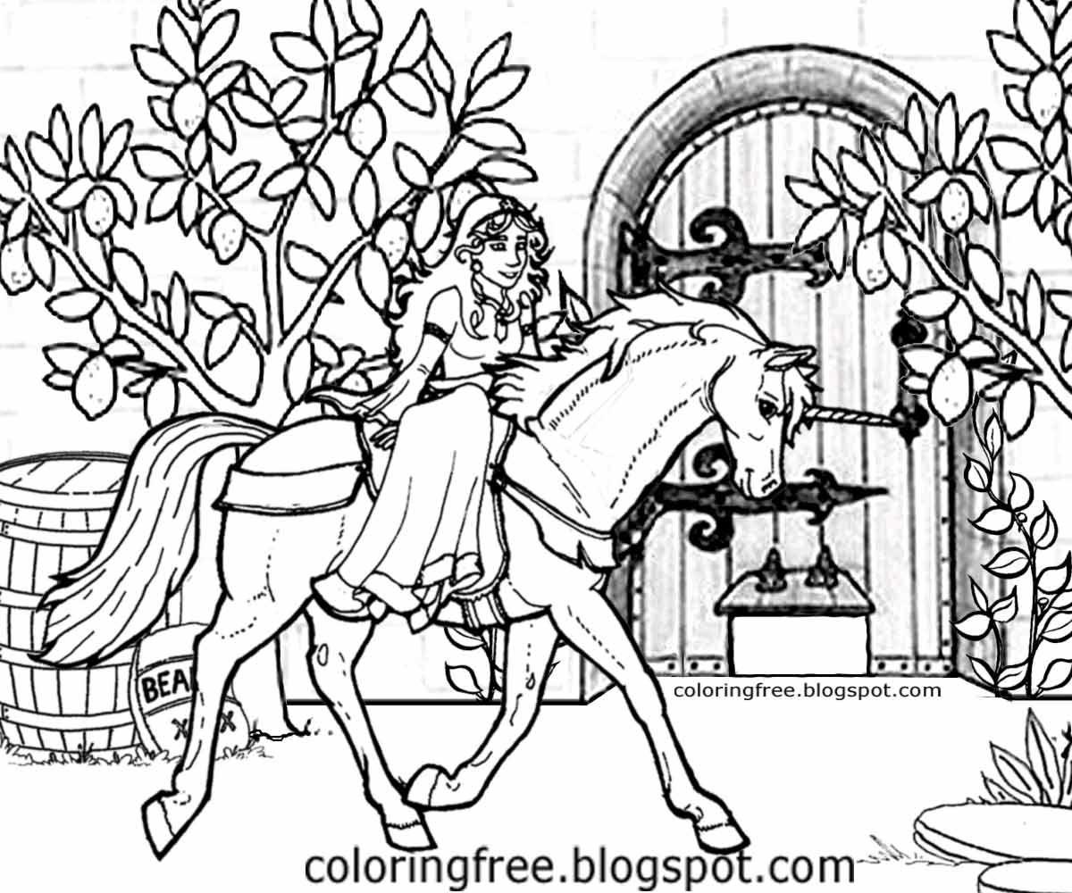 1200x1000 Printable Unicorn Drawing Mythical Coloring Book Pictures For Kids