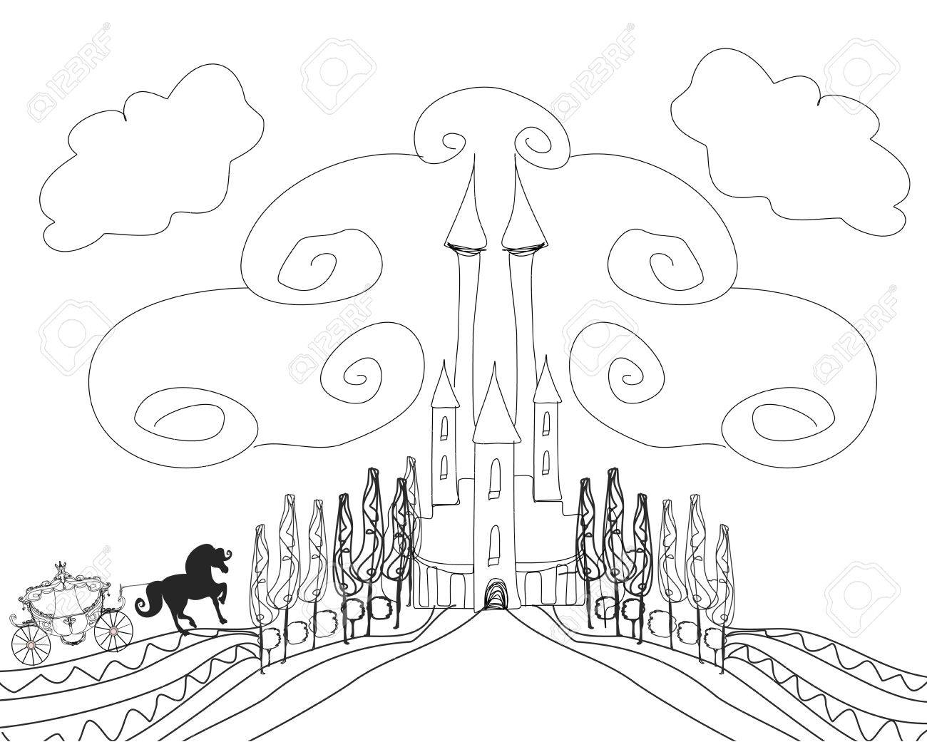 1300x1041 Silhouette Of A Horse Carriage And A Medieval Castle