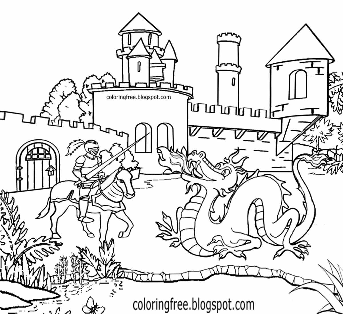 fantasy knights princesses coloring pages - photo#16