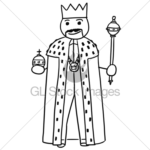 500x500 Vector Stickman Cartoon Of King Posing With Crown, Sceptr Gl