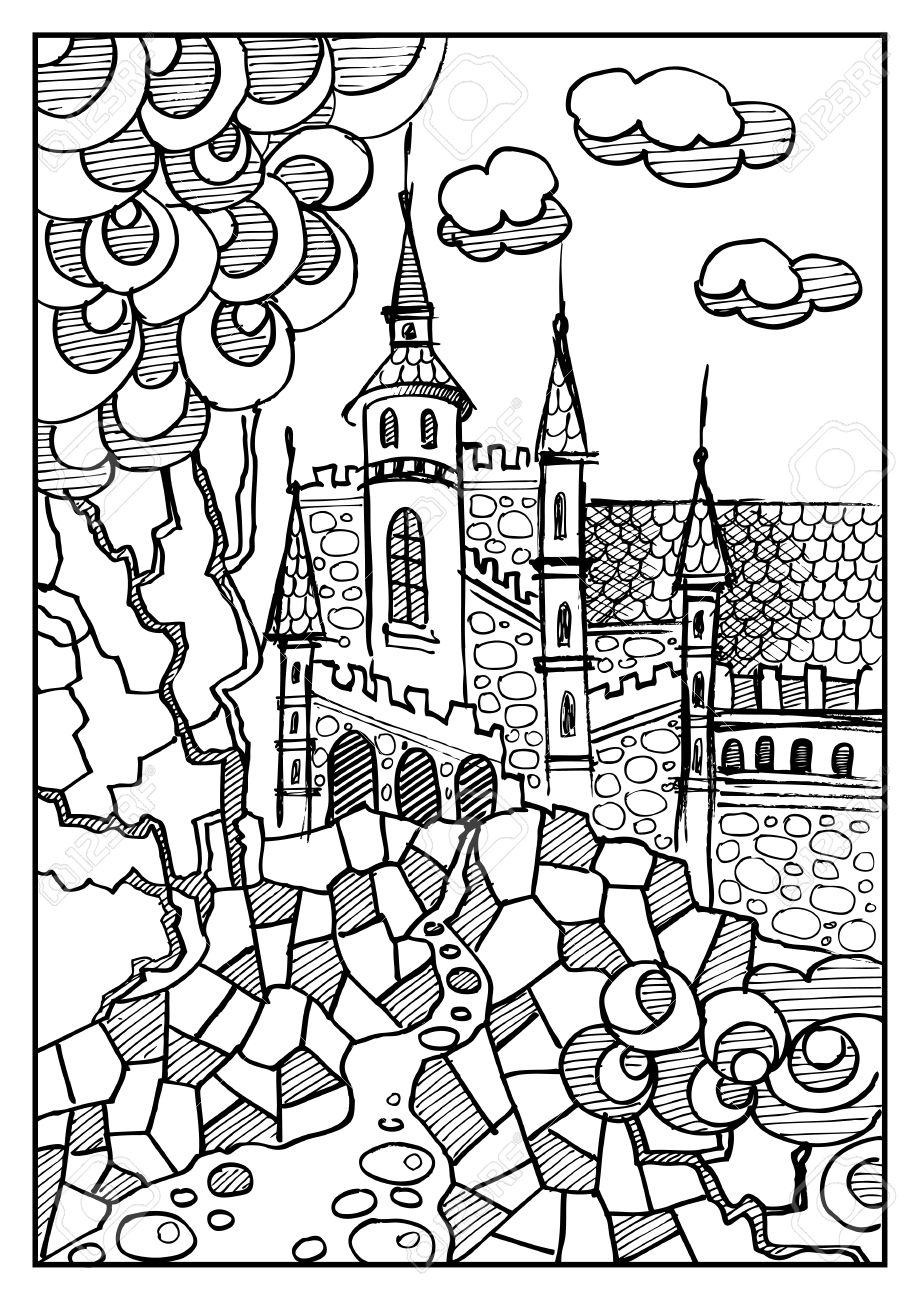 920x1300 Fantasy Landscape. Fairy Tale Castle, Old Medieval Town, Park