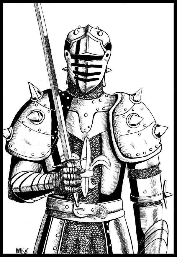 600x871 Inked Medieval Knight By Leiamac