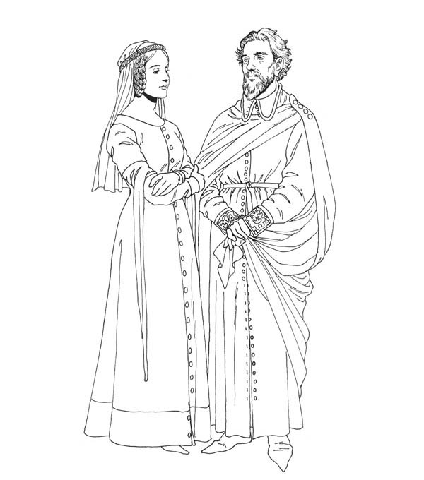 600x680 King And Queen In Middle Ages Coloring Page Color Luna