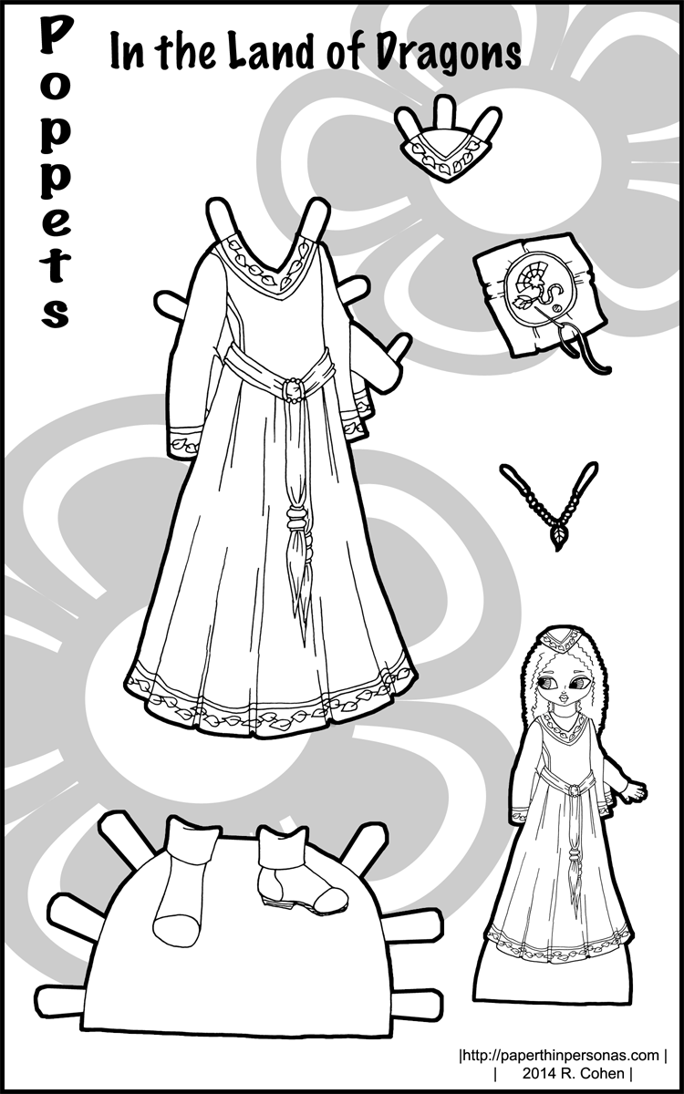 750x1200 Medieval Fantasy Costume For A Printable Paper Doll