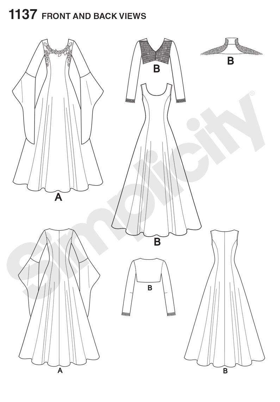 795x1142 Simplicity 1137 Misses' Medieval Fantasy Costumes Medieval