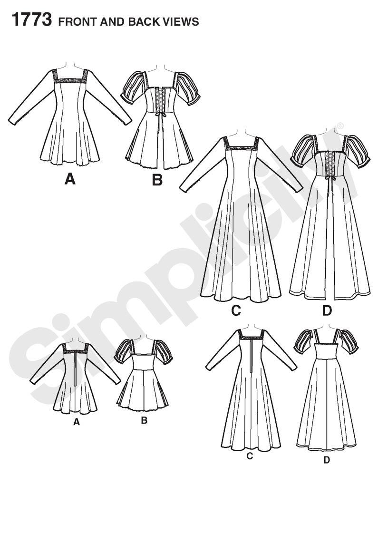 795x1142 1773 Simplicity Pattern Misses Medieval Costume Dress