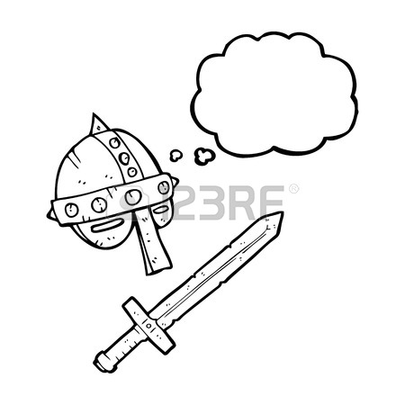 450x450 Freehand Drawn Thought Bubble Cartoon Medieval Helmet Royalty Free