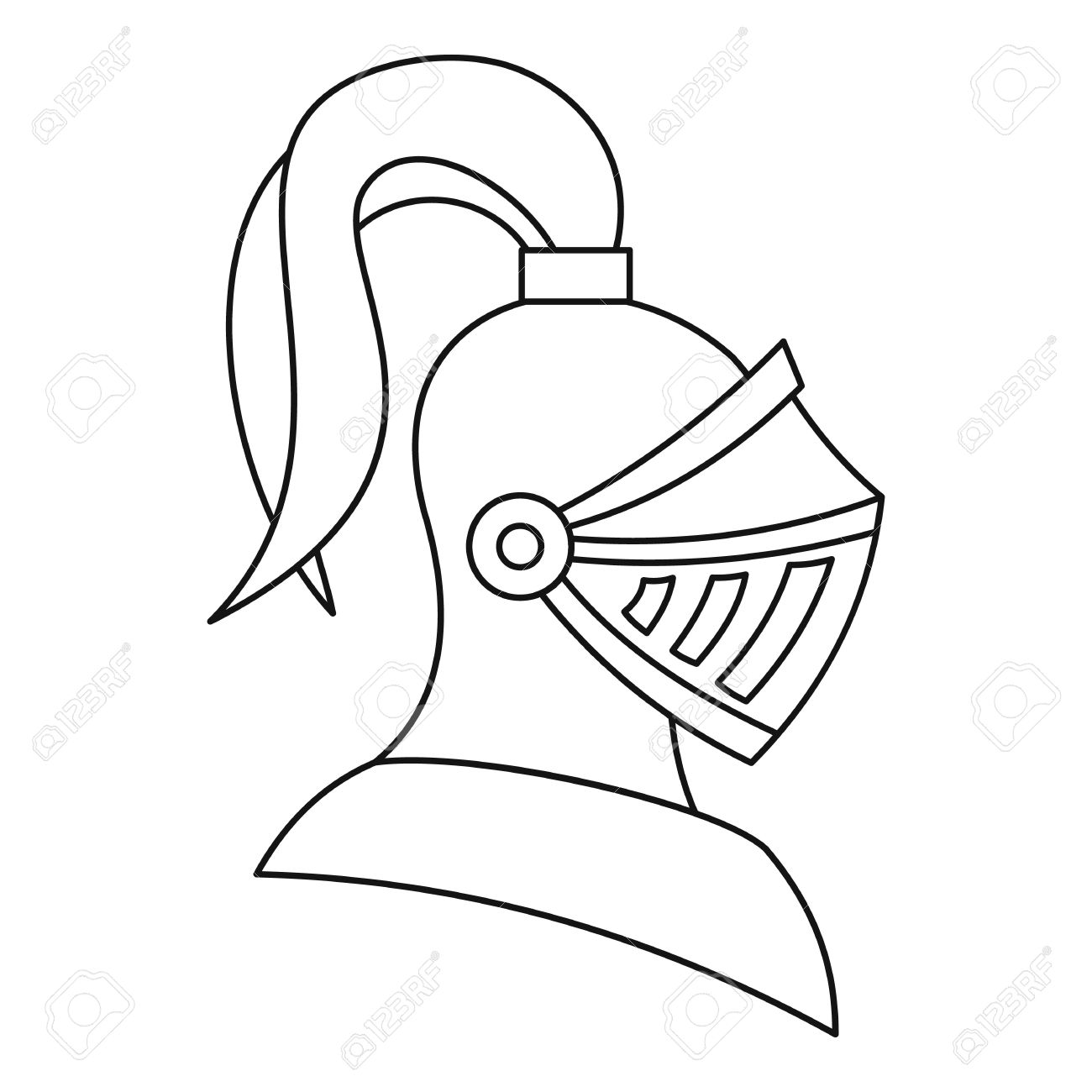 1300x1300 Medieval Knight Helmet Icon In Outline Style On A White Background