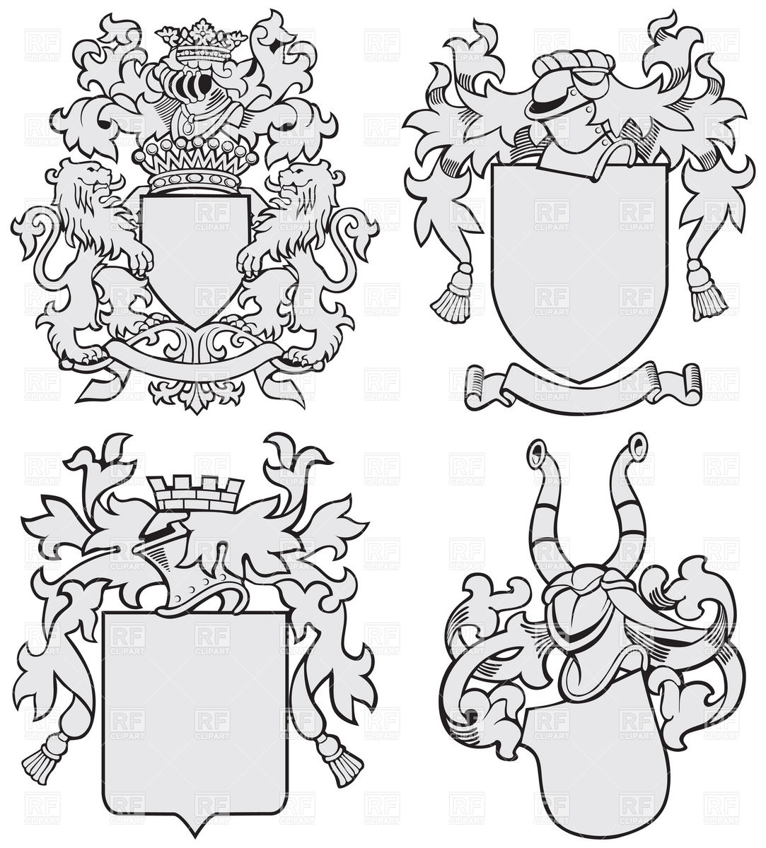 1083x1200 Medieval Heraldic Templates With Helmet And Shield Royalty Free
