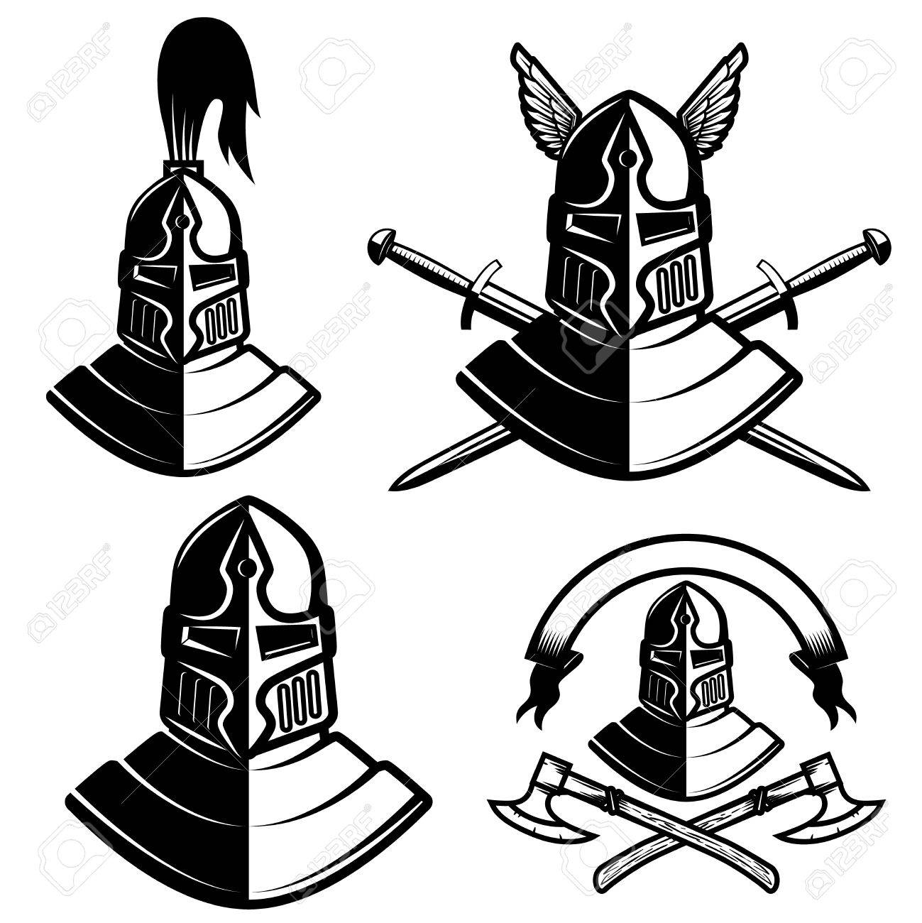 1299x1300 Set Of Knight Helmets With Swords, Axes. Design Elements