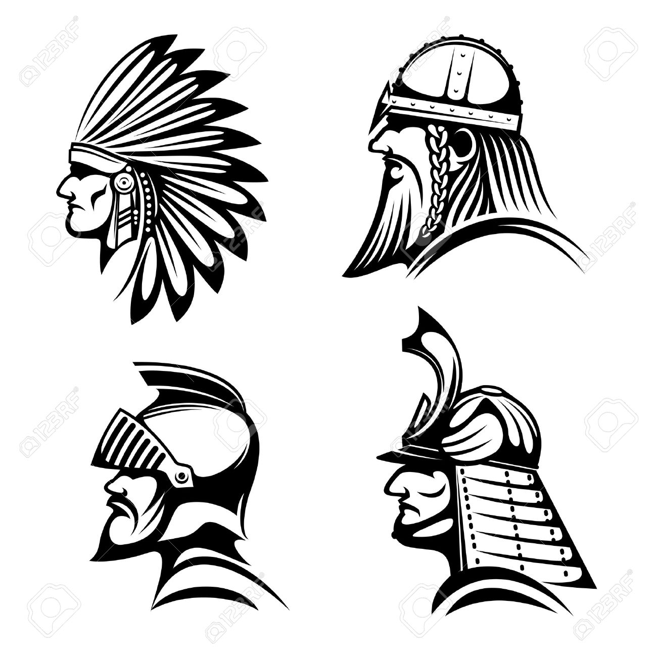 1300x1300 Ancient Warriors In Helmets Icons With Profiles Of Medieval Knight