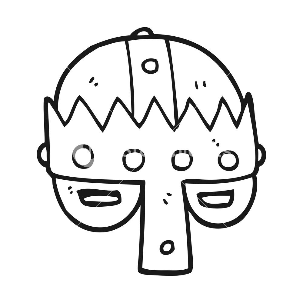 1000x1000 Freehand Drawn Black And White Cartoon Medieval Helmet Royalty
