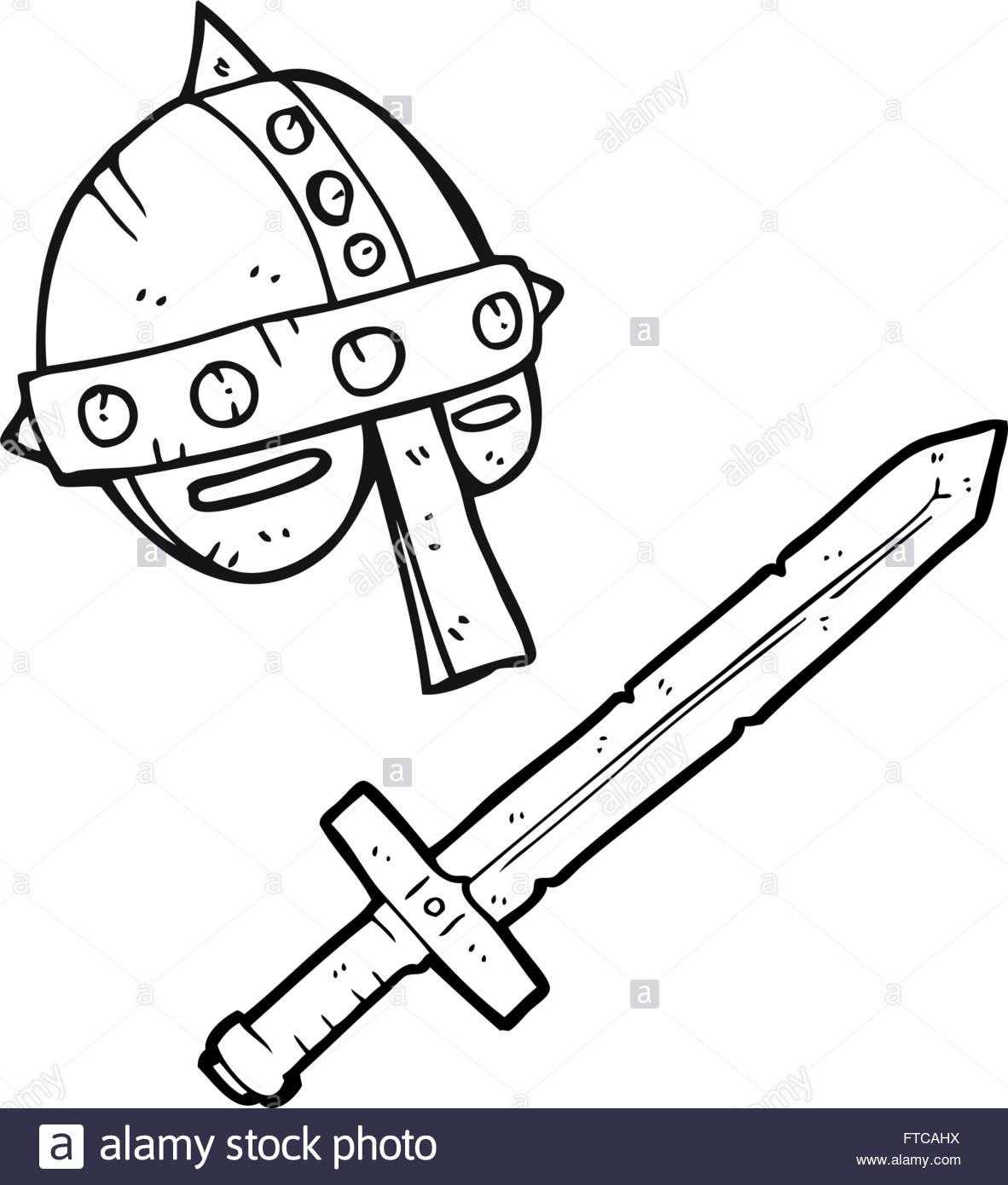 1182x1390 Freehand Drawn Black And White Cartoon Medieval Helmet Stock