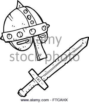 300x350 Freehand Drawn Cartoon Medieval Helmet Stock Vector Art
