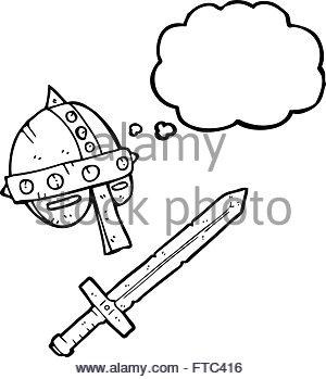 300x349 Freehand Drawn Speech Bubble Cartoon Medieval Knight Stock Vector