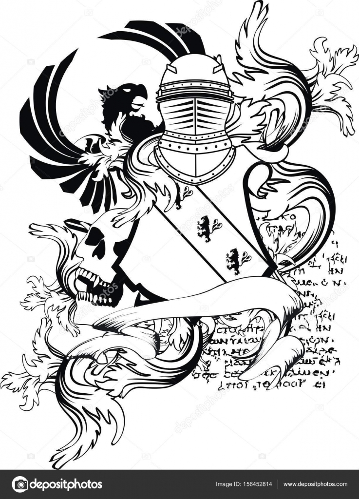 737x1024 Heraldic Medieval Helmet Shield Coat Of Arms Tattoo Eagle Lion