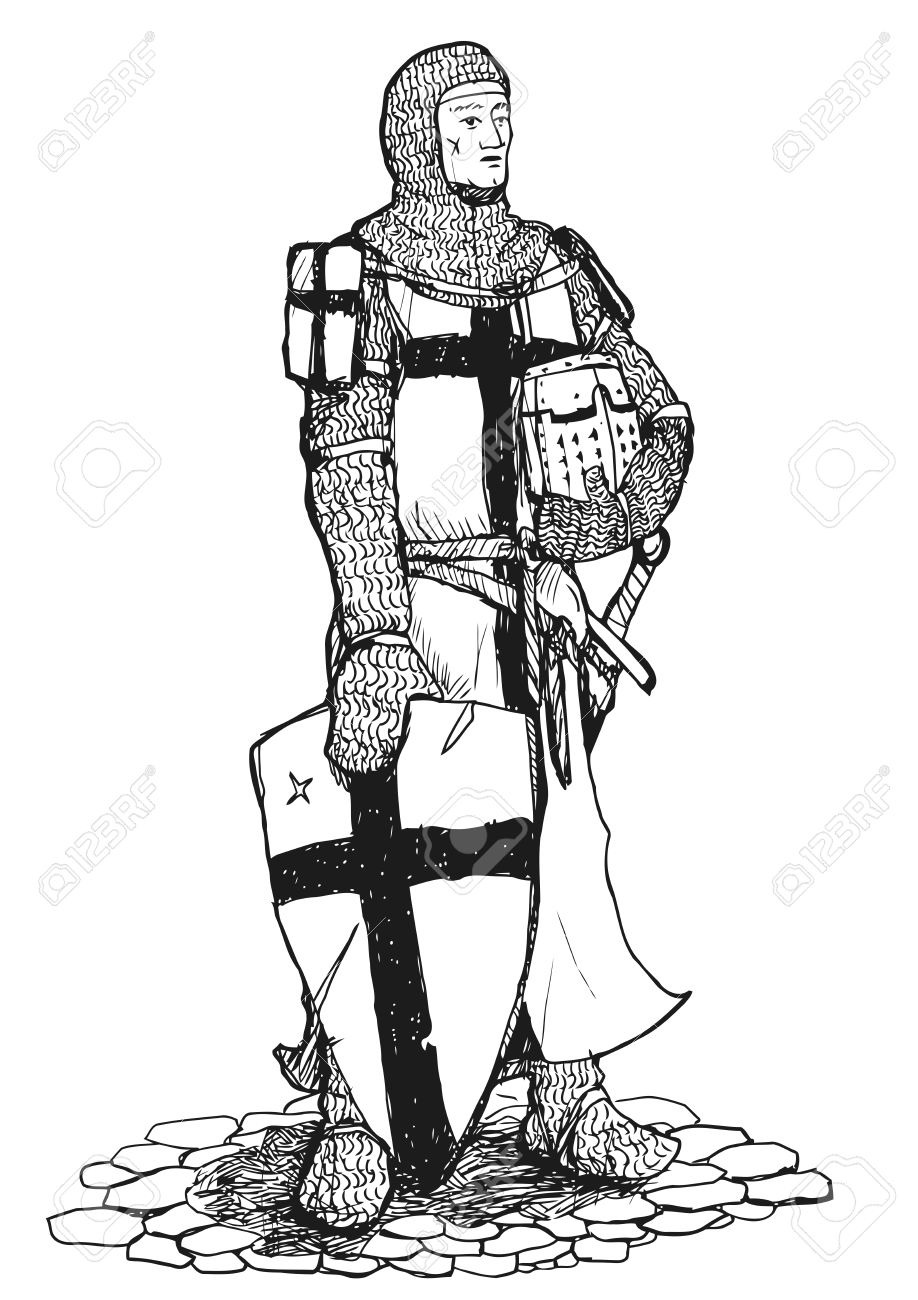 918x1300 Black And White Drawing Of Standing Crusader Armed With Sword