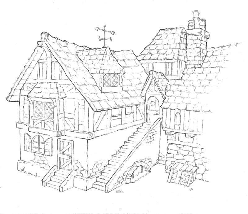 800x691 Stephan's Sketchbook Concept For A Medieval Houses Medieval