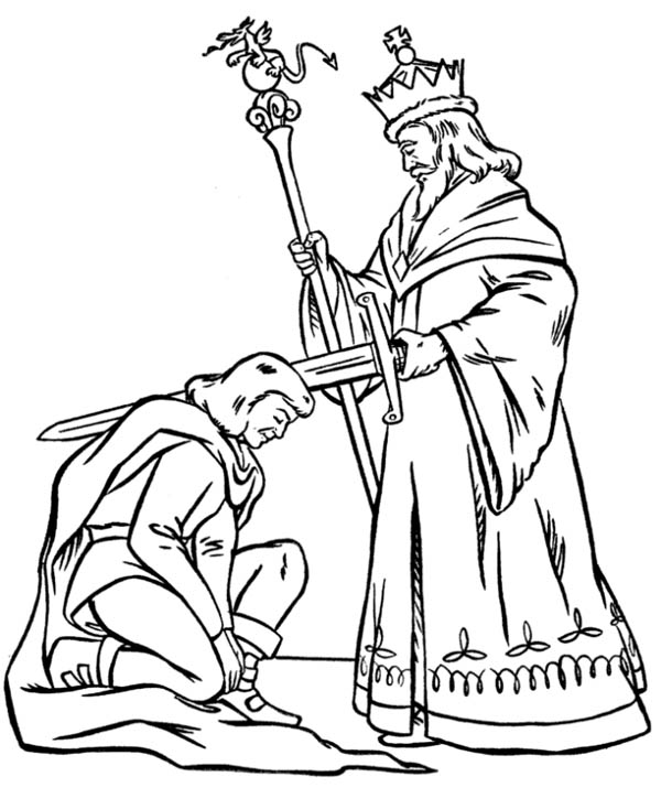 600x734 King Blessing Knight Before War In Middle Ages Coloring Page
