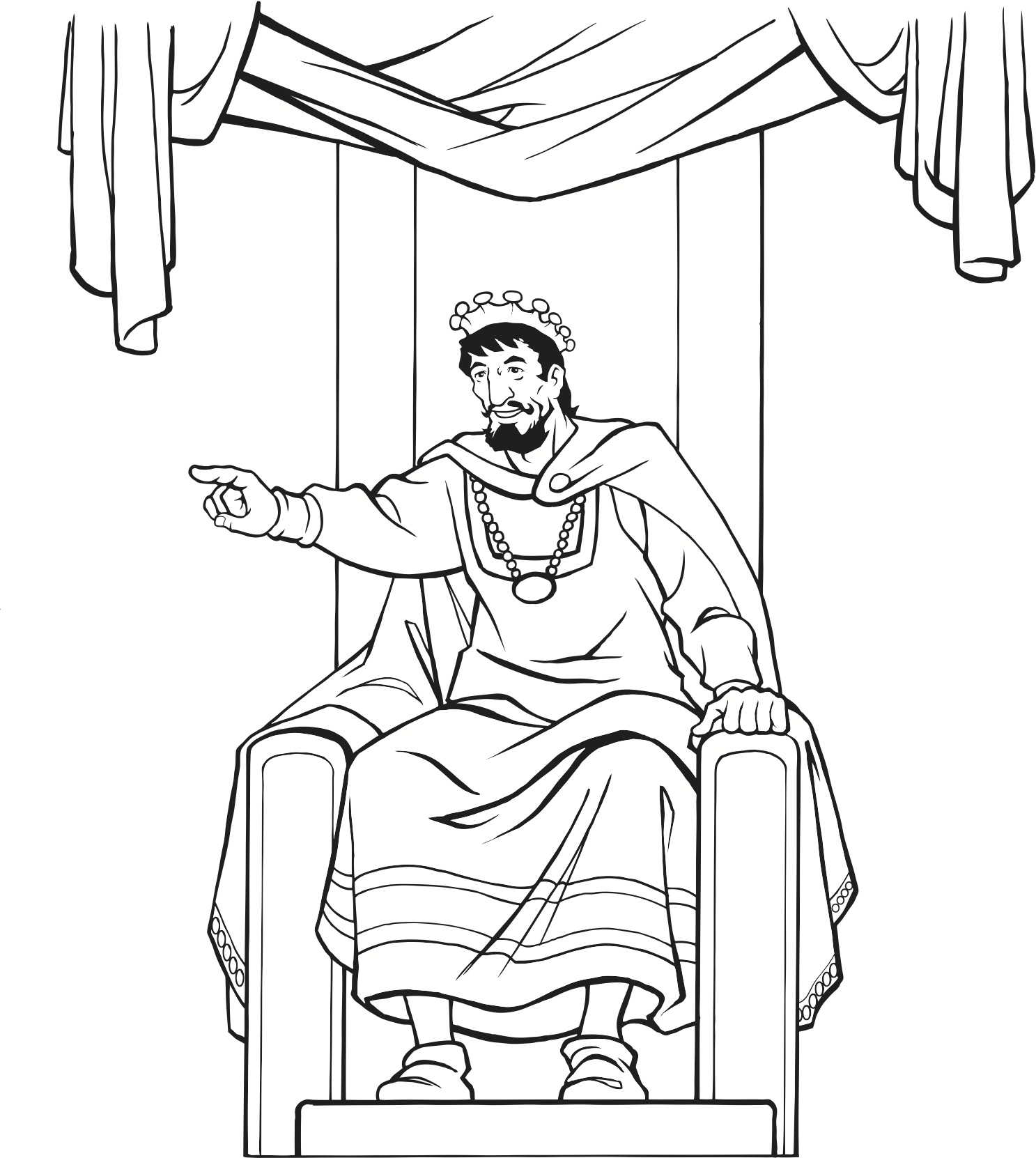 1487x1662 Medieval King On Throne (Coloring Page) Vbs
