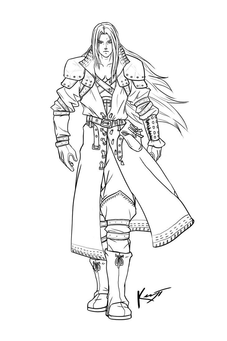 730x1095 Medieval Sephiroth Line Art By Kenji893