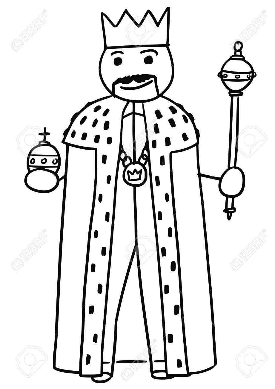 921x1300 Cartoon Vector Stickman Medieval King Is Posing In Robe Gown
