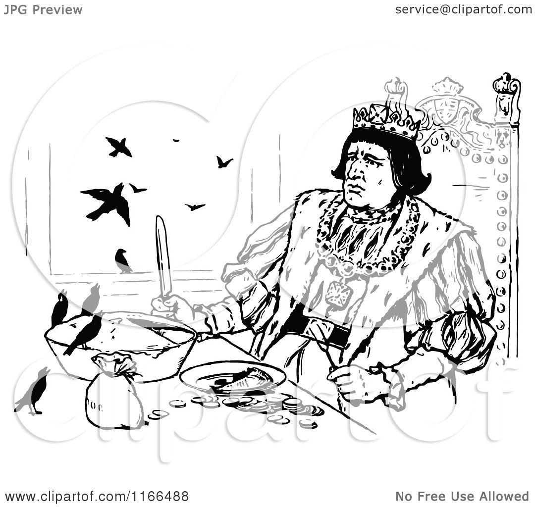 1080x1024 Clipart Of A Retro Vintage Black And White Medieval King And Birds