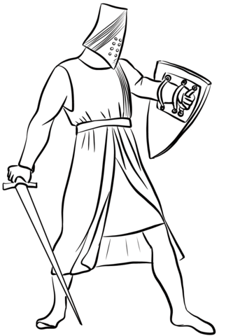343x480 Helmeted Medieval Knight Coloring Page Free Printable Coloring Pages