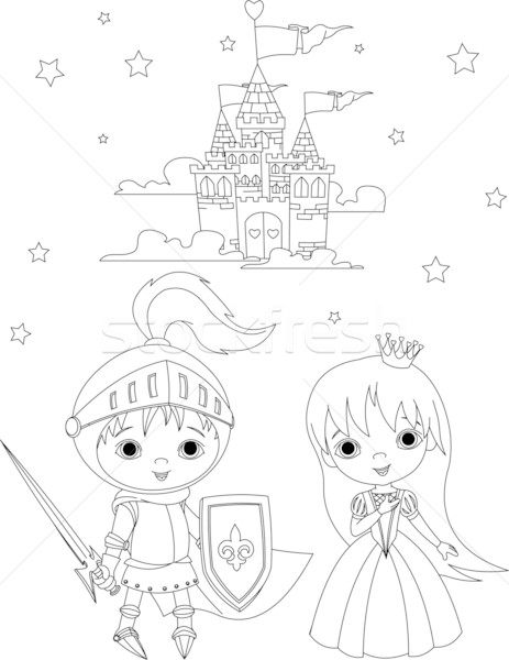 463x600 Medieval Knight And Princess Coloring Page Vector Illustration