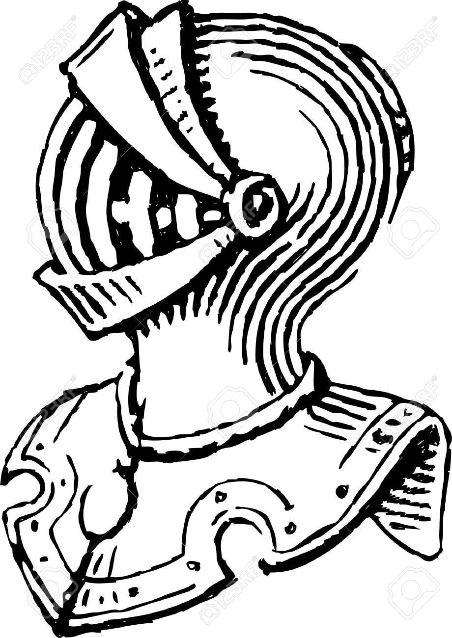 920x1300 Vector Drawing Of A Medieval Knight Armor Royalty Free Cliparts