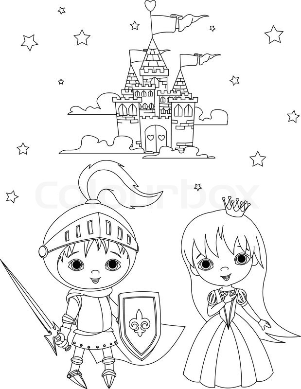 619x800 Coloring Page Of Young Knight And Cute Princess Against