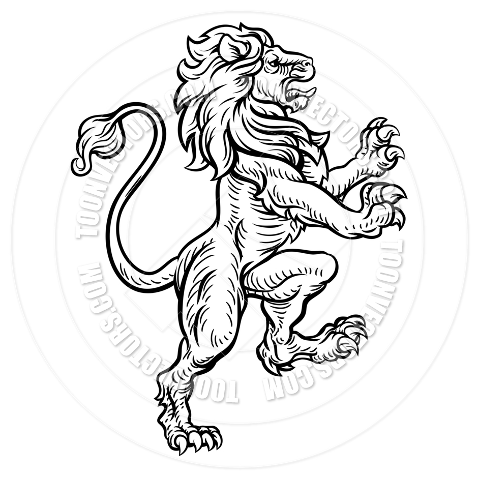 940x940 Lion Heraldic Style Drawing By Geoimages Toon Vectors Eps