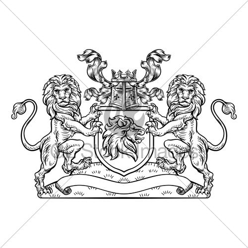 500x500 Lions Crest Shield Coat Of Arms Heraldic Emblem Gl Stock Images
