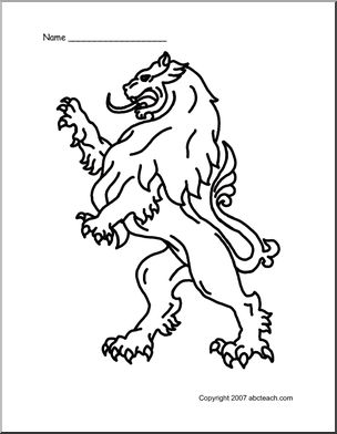 304x392 Coloring Page Medieval Lion Abcteach