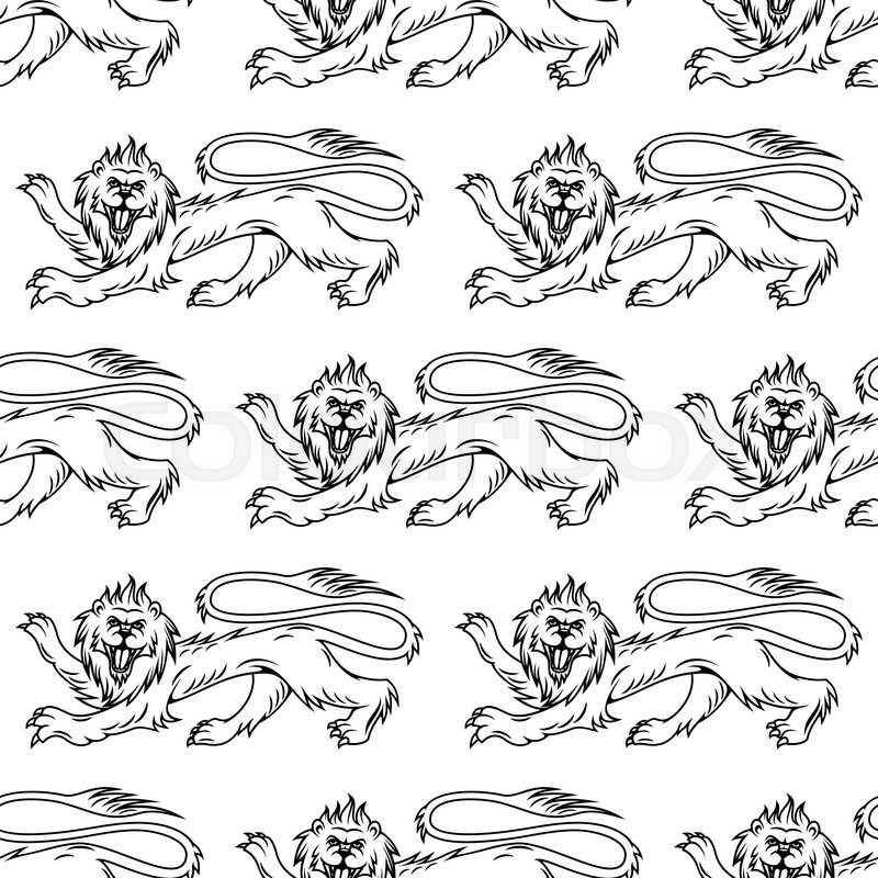800x800 Medieval Royal Heraldic Lions Seamless Pattern With Profiles