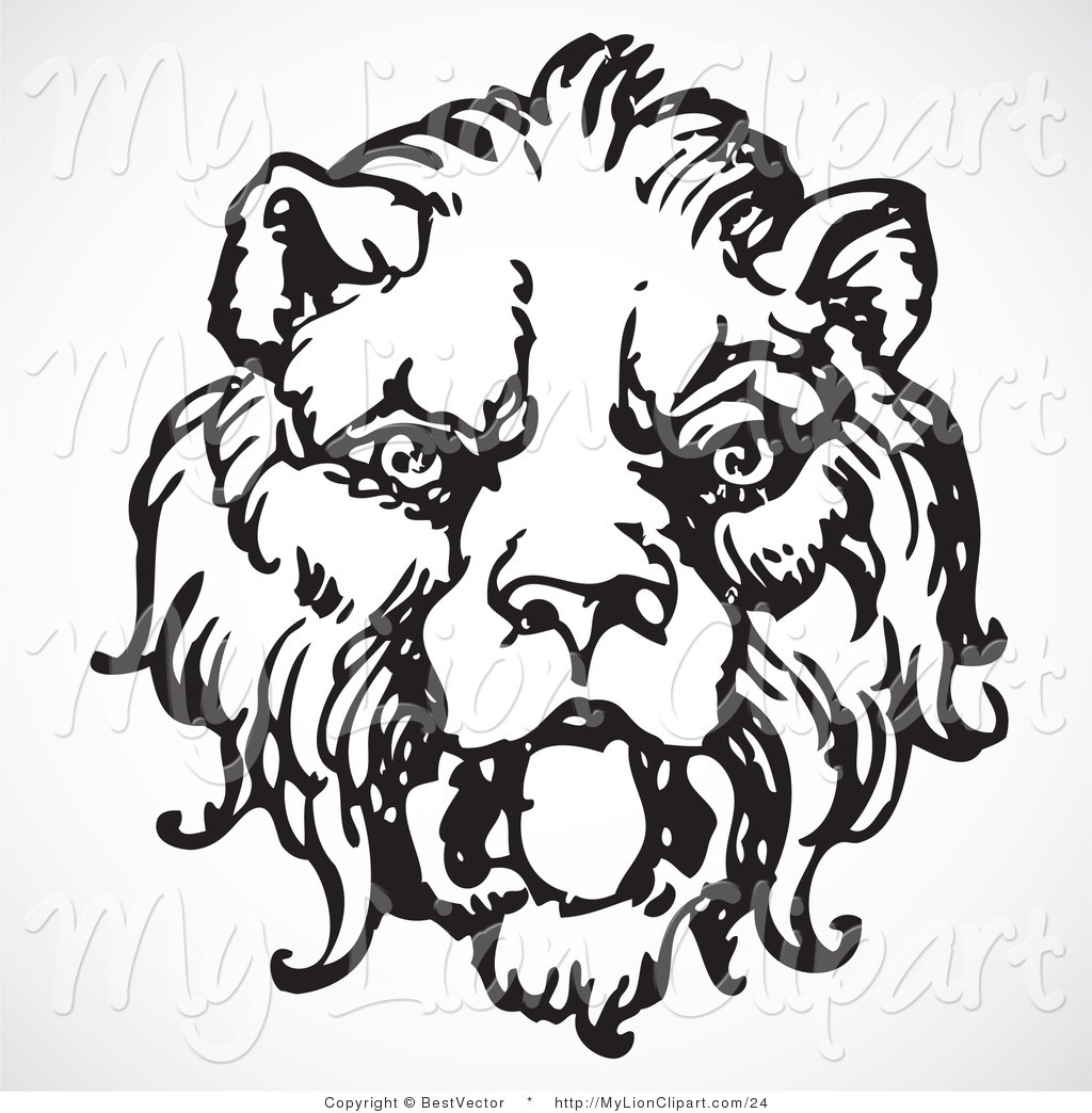 1024x1044 Vector Clipart Of A Black And White Roaring Lion Head By