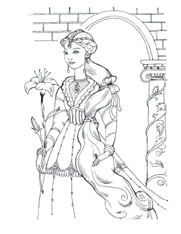 600x776 Medieval Princess Coloring Pages Detailed Medieval Princess
