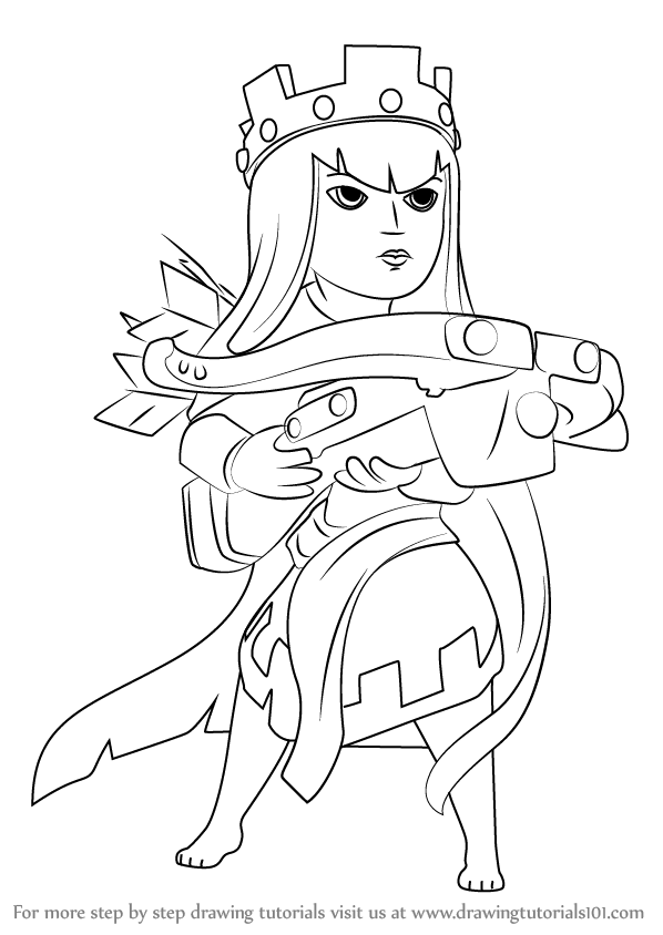 598x844 Learn How To Draw Queen Archer From Clash The Clans (Clash