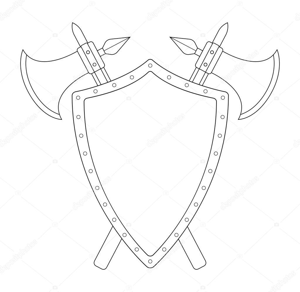 1024x995 Medieval Weapons Shield Sword Logo Stock Vector Bsd