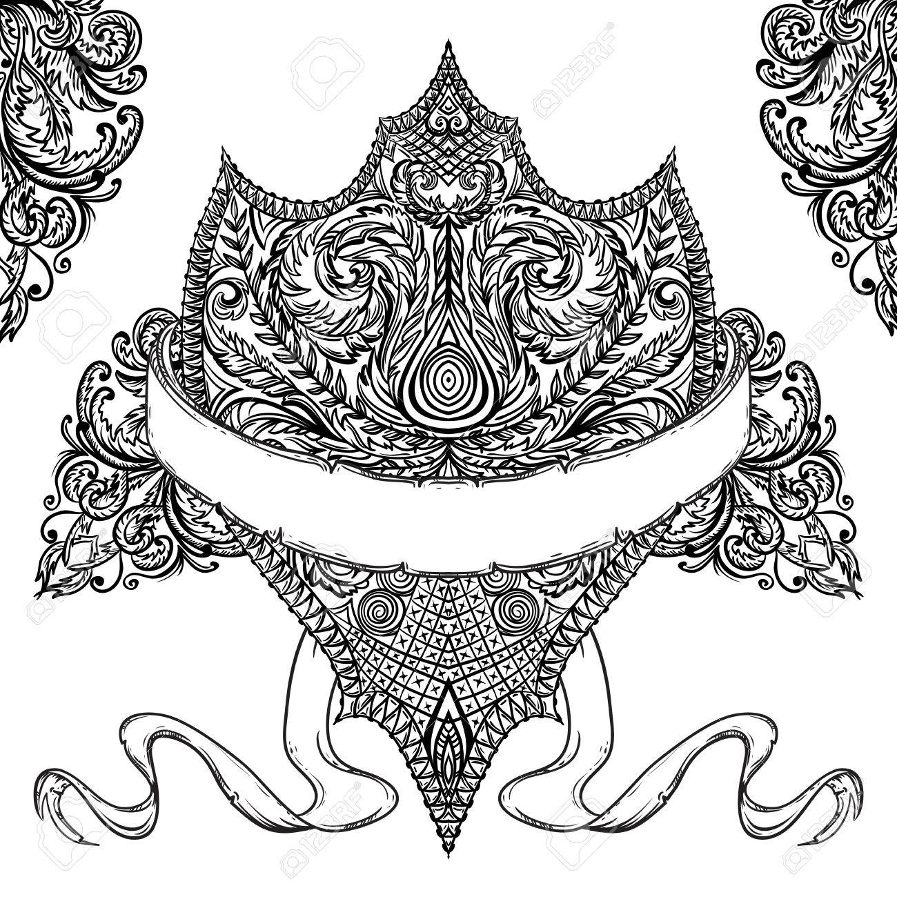 1300x1300 Ornate Medieval Shield And Ribbon Banner. Vintage Floral Highly