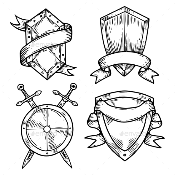 590x590 Set Of Isolated Medieval Shields With Ribbons By Cookamoto