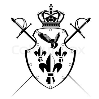 320x320 Shield, Swords And Crown. Stencil. Vector Illustration Stock