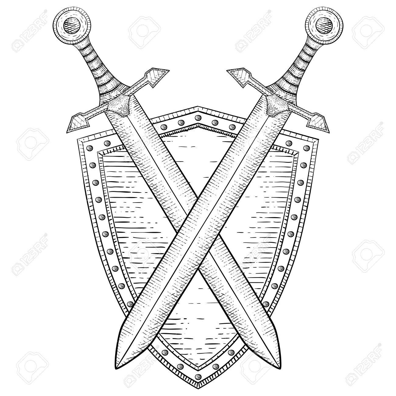 1300x1300 Shield With Crossed Swords. Hand Drawn Sketch Royalty Free